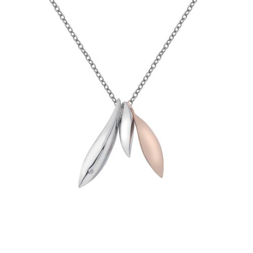 Hot Diamonds Two Tone Sterling Silver And Rose Gold Plated Triple Leaf necklace DP610